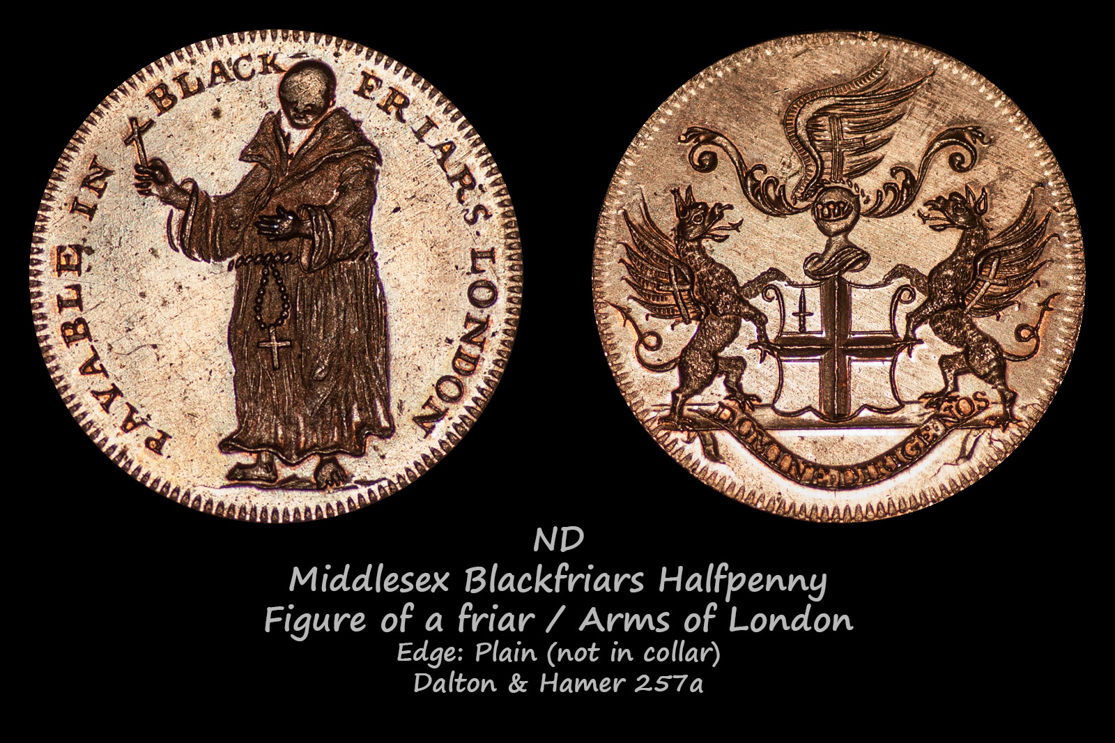Middlesex Blackfriars Halfpenny D&H257a