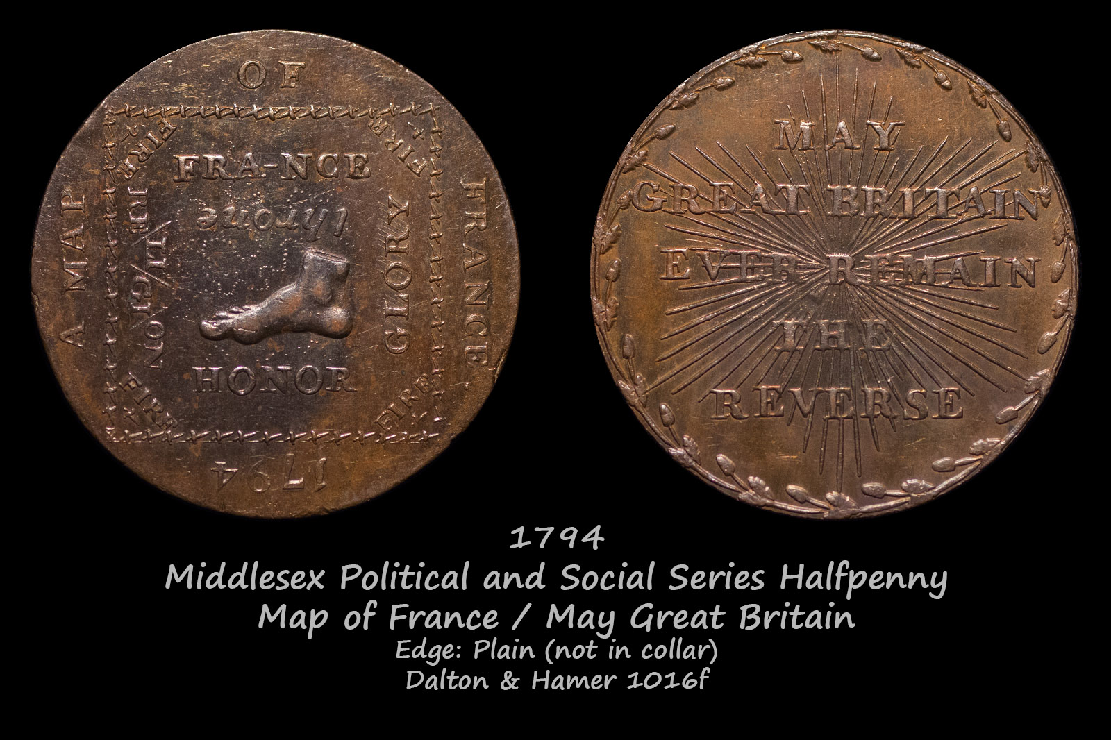 Middlesex Political and Social Series Halfpenny D&H1016f