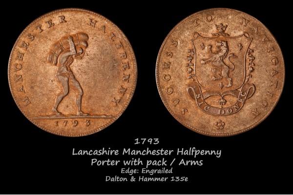 Lancashire Manchester Halfpenny D&H 135e