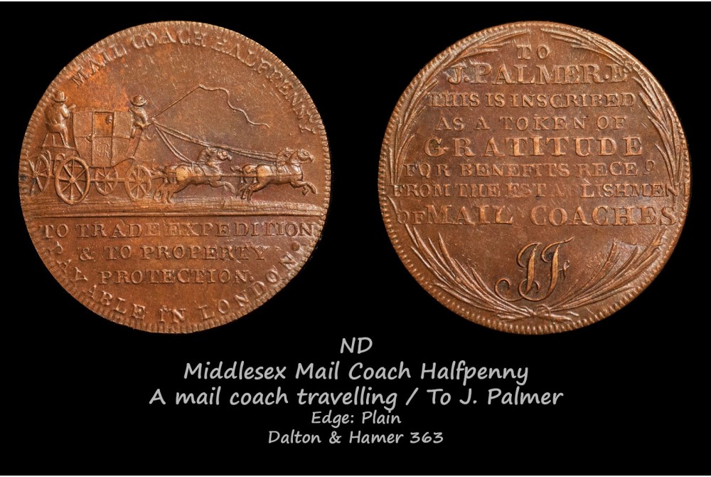 Middlesex Mail Coach Halfpenny D&H363
