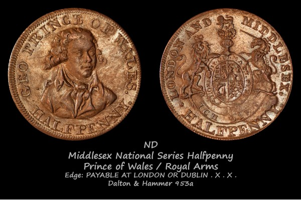 Middlesex National Series Halfpenny D&H 953a