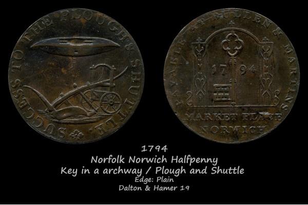 Norfolk Norwich Halfpenny D&H19