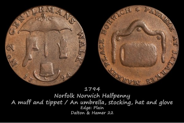 Norfolk Norwich Halfpenny D&H22