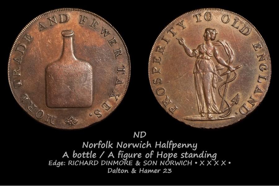 Norfolk Norwich Halfpenny D&H23