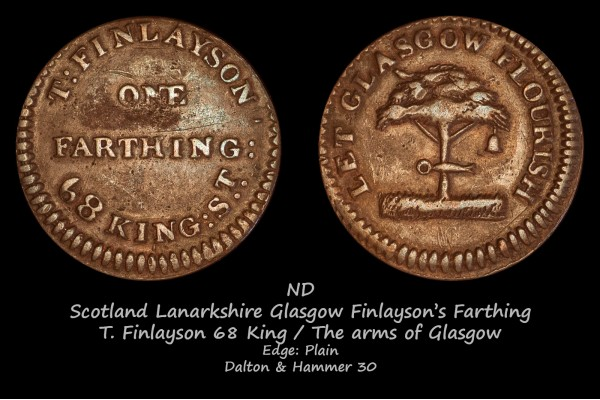 Scotland Lanarkshire Glasgow Finlayson's Farthing D&H30