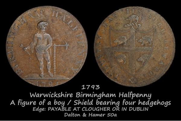 Warwickshire Birmingham Halfpenny D&H50a