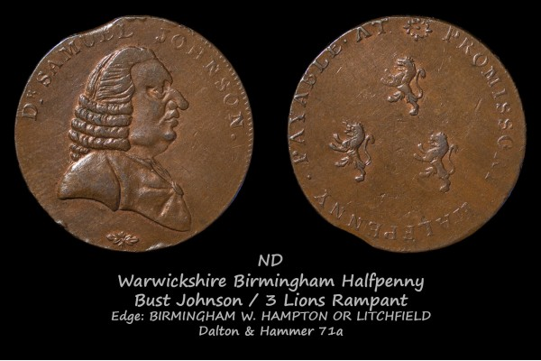 Warwickshire Birmingham Halfpenny D&H 71a