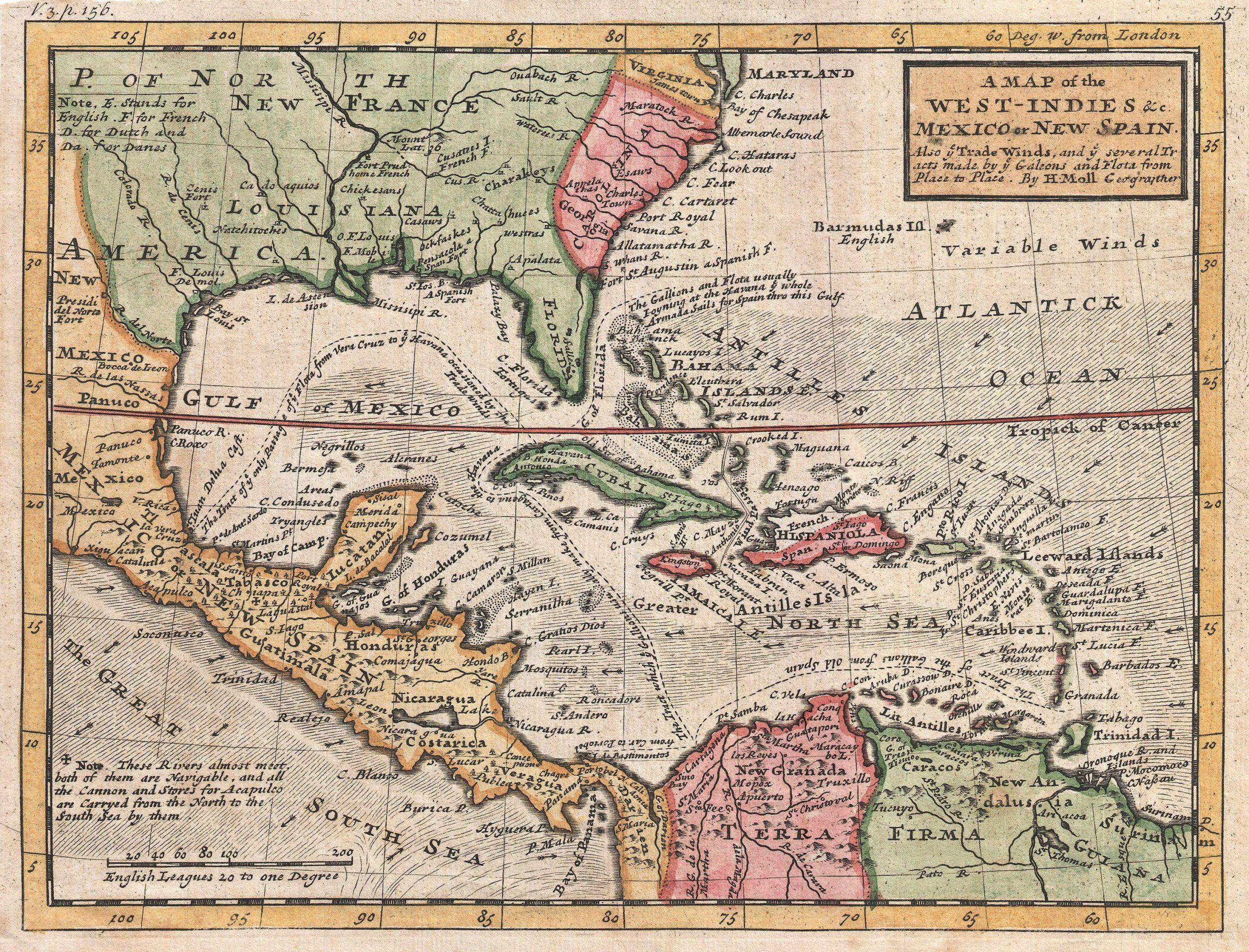 Карта Вест-Индии и Карибских островов 1732 года