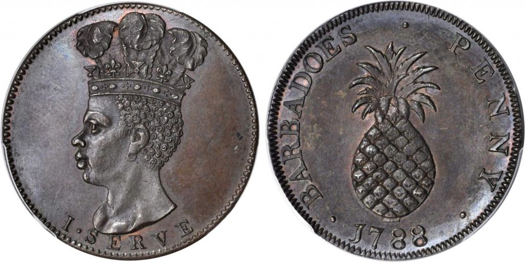 Pineapple penny Barbados 1788