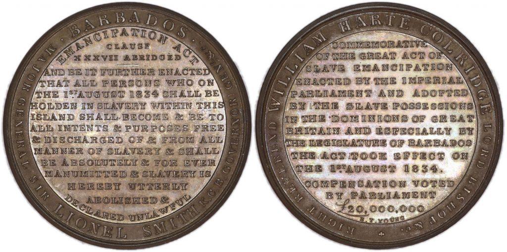 Серебряная памятная медаль в ознаменование вступления в силу 1 августа 1834 года закона об отмене рабства