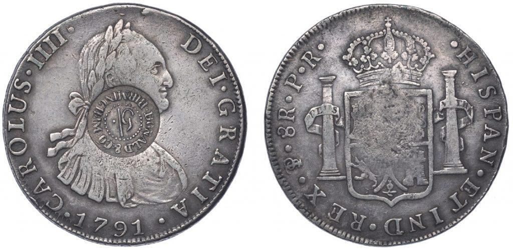 WARWICKSHIRE, Birmingham, Donald & Co, a BOLIVIA, Charles IIII, 8 Réales, 1791