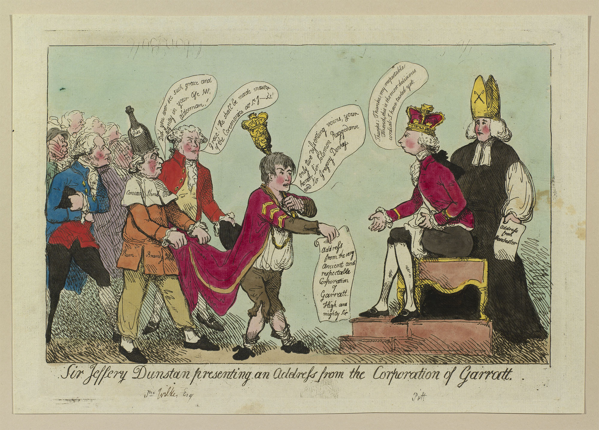 Sir Jeffery Dunstan Presenting an Address from the Corporation of Garrett, 1788. Royal Collection Trust.